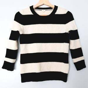 J. CREW Lambs Wool 3/4 Sleeve Sweater Stripe XS